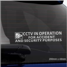 1 x 200x50mm-WINDOW Stickers-CCTV In Operation for Accident and Security Purposes-CCTV Sign-Car,Van,Lorry,Truck,Taxi,Bus,Mini Cab,Minicab-Go Pro,Dashcam